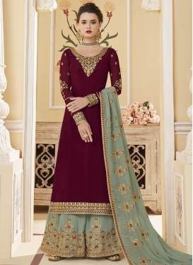 Embroidered Work Palazzo Style Pakistani Salwar Suit For Festival
