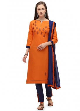 Embroidered Work Pant Style Classic Salwar Suit For Casual