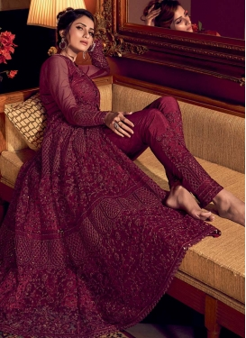 Embroidered Work Pant Style Designer Salwar Kameez For Ceremonial