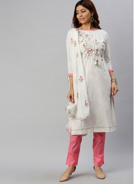 Embroidered Work Pant Style Designer Salwar Suit For Casual