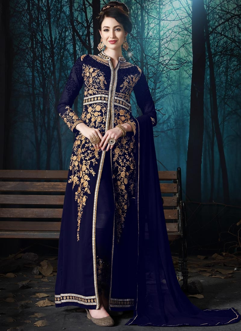 Embroidered Work Pant Style Designer Suit
