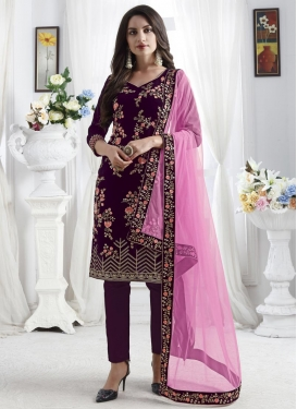 Embroidered Work Pant Style Salwar Suit
