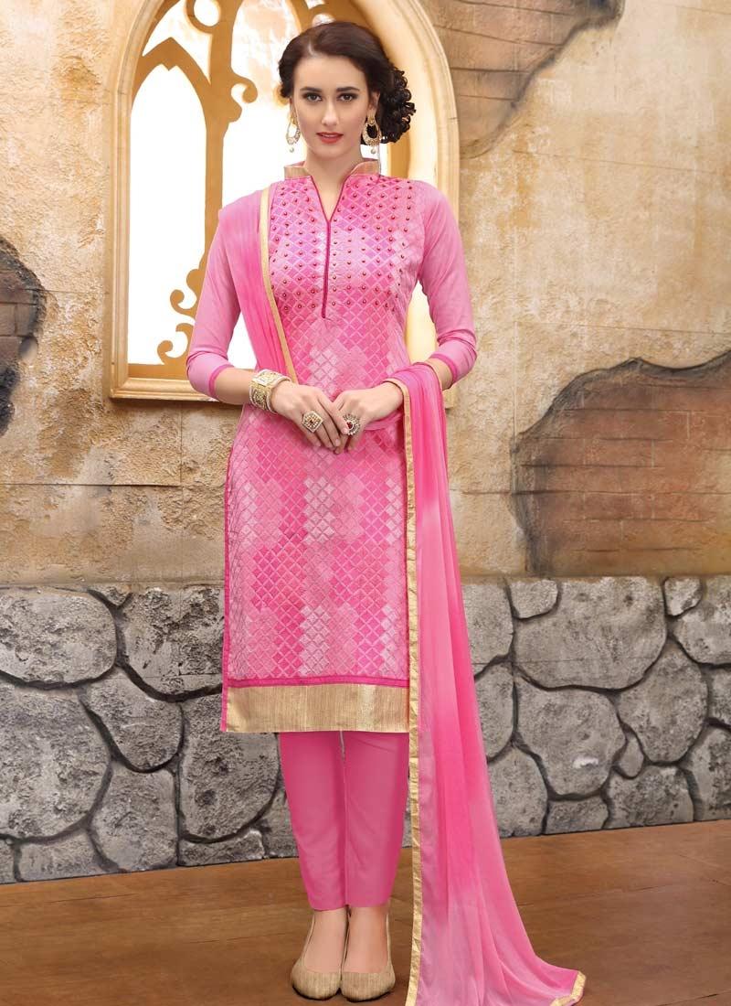 Embroidered Work Pant Style Straight Salwar Kameez