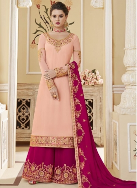 Embroidered Work Peach and Rose Pink Faux Georgette Palazzo Style Pakistani Salwar Suit