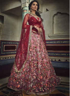 Embroidered Work Pink and Red Net Lehenga Choli