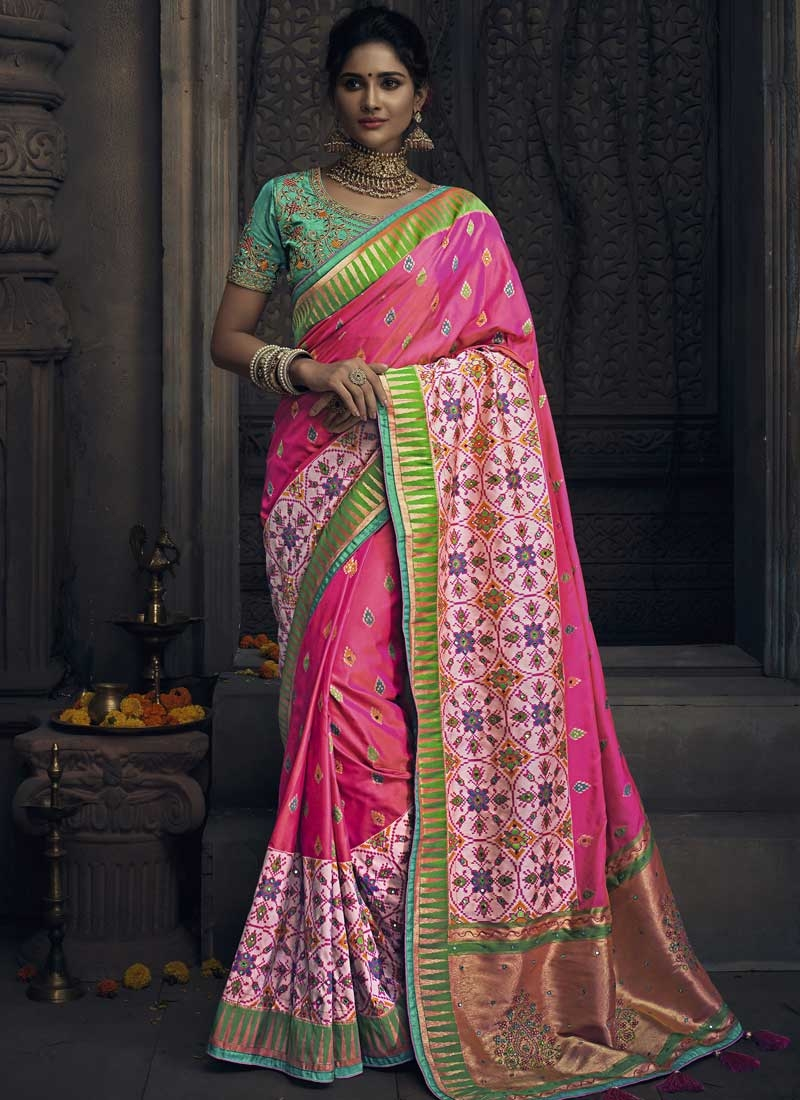 Embroidered Work Pink and Rose Pink Designer Traditional Saree