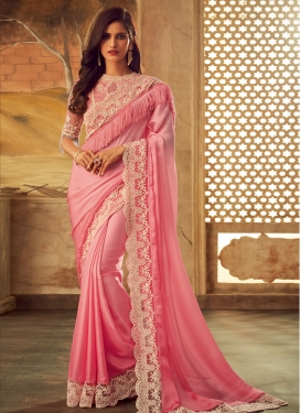 Embroidered Work Pink and Salmon Designer Contemporary Style Saree