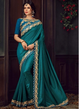 Embroidered Work Poly Silk Blue and Teal Designer Traditional Saree