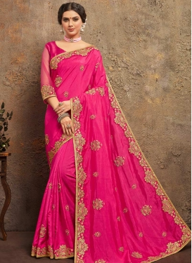 Embroidered Work Poly Silk Contemporary Style Saree
