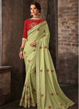 Embroidered Work Poly Silk Designer Contemporary Style Saree