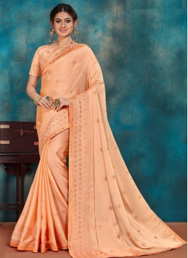 Embroidered Work Poly Silk Designer Contemporary Style Saree For Casual