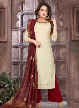 Embroidered Work Poly Silk Readymade Salwar Suit