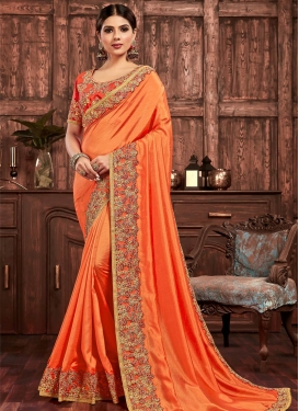 Embroidered Work  Poly Silk Traditional Designer Saree