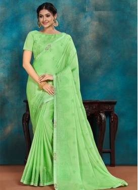 Embroidered Work Poly Silk Trendy Classic Saree