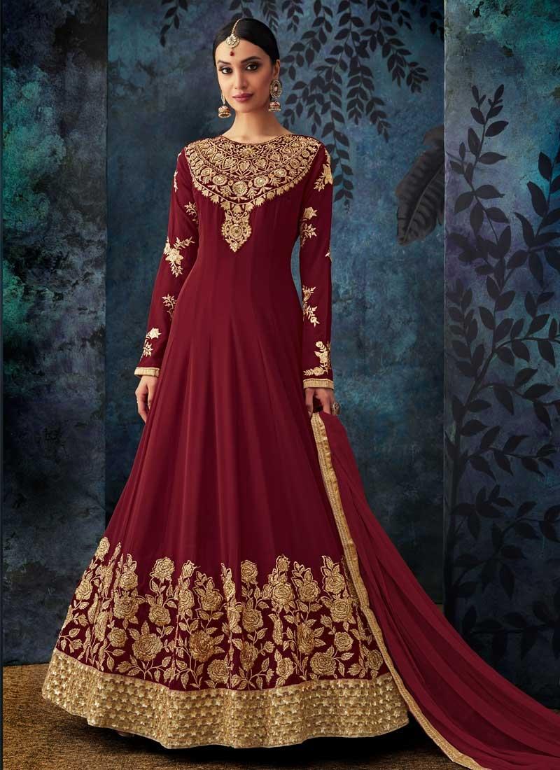 Embroidered Work Pure Georgette Anarkali Salwar Kameez