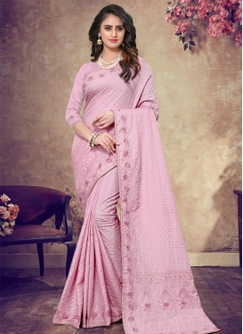 Embroidered Work Pure Georgette Contemporary Style Saree