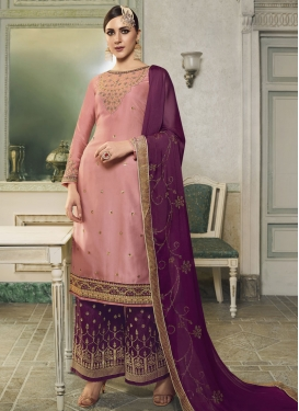 Embroidered Work Purple and Salmon Jacquard Silk Palazzo Style Pakistani Salwar Kameez
