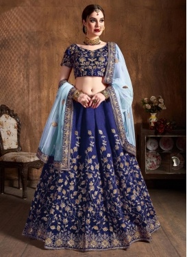 Embroidered Work Raw Silk A - Line Lehenga