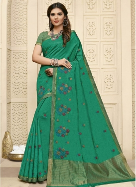 Embroidered Work Raw Silk Contemporary Style Saree