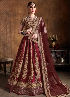 Embroidered Work Raw Silk Lehenga Choli
