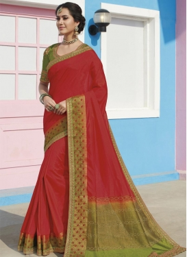 Embroidered Work Raw Silk Trendy Classic Saree