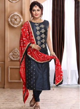 Embroidered Work Readymade Churidar Suit