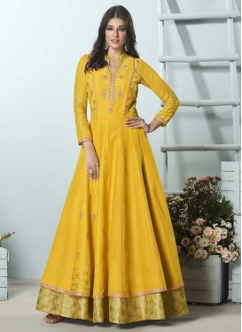 Embroidered Work Readymade Classic Gown For Ceremonial