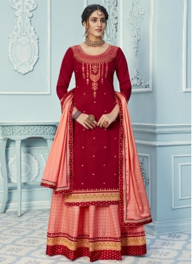 Embroidered Work Red and Salmon Designer Kameez Style Lehenga Choli