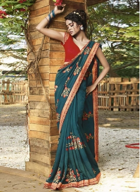 Embroidered Work Red and Teal Traditional Designer Saree