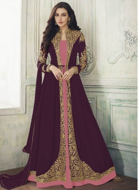 Embroidered Work Salmon and Wine Jacket Style Floor Length Suit