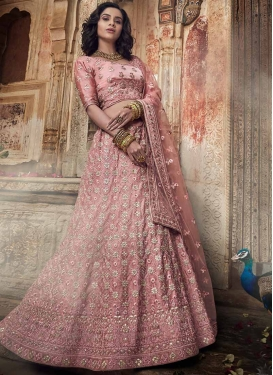 Embroidered Work Satin A - Line Lehenga