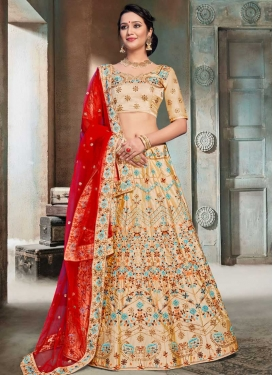 Embroidered Work Satin A Line Lehenga Choli