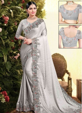 Embroidered Work Satin Georgette Classic Saree