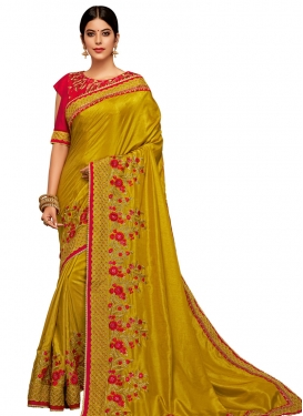 Embroidered Work Satin Georgette Designer Contemporary Saree