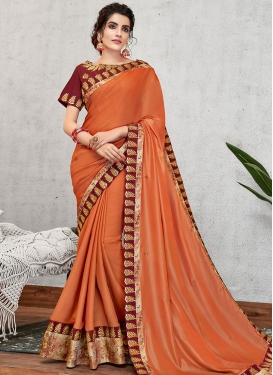 Embroidered Work Satin Georgette Designer Contemporary Style Saree