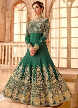 Embroidered Work Satin Georgette Floor Length Anarkali Salwar Suit