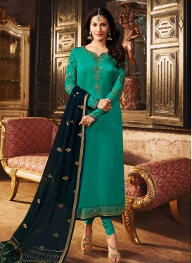Embroidered Work Satin Georgette Pakistani Straight Salwar Kameez