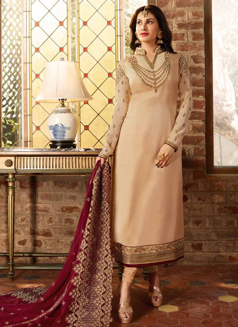Embroidered Work Satin Georgette Pakistani Straight Salwar Suit