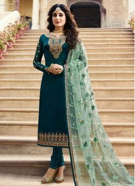 Embroidered Work Satin Georgette Pakistani Straight Salwar Suit