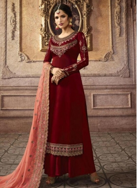 Embroidered Work Satin Georgette Palazzo Style Pakistani Salwar Kameez