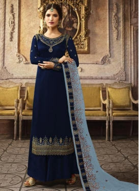 Embroidered Work Satin Georgette Palazzo Style Pakistani Salwar Suit