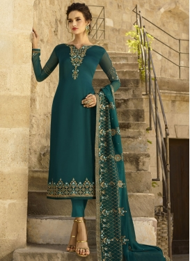 Embroidered Work Satin Georgette Pant Style Classic Salwar Suit