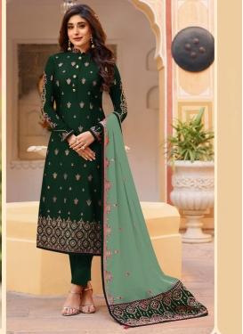 Embroidered Work Satin Georgette Pant Style Pakistani Salwar Kameez