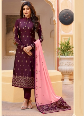 Embroidered Work Satin Georgette Pant Style Pakistani Salwar Kameez