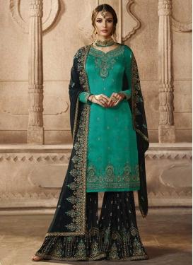 Embroidered Work Satin Georgette Sharara Salwar Suit
