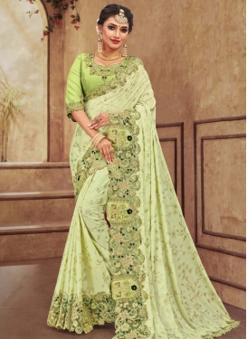 Embroidered Work Satin Georgette Traditional Designer Saree