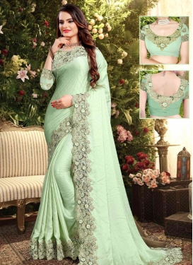 Embroidered Work Satin Georgette Traditional Saree For Festival