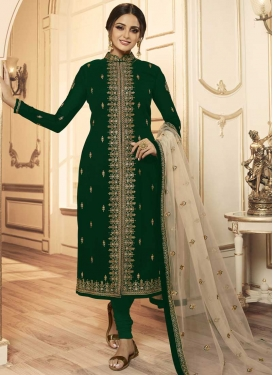 Embroidered Work Satin Georgette Trendy Churidar Salwar Suit