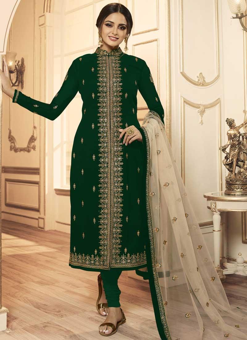 Embroidered Work Satin Georgette Trendy Churidar Salwar Suit