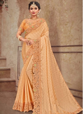 Embroidered Work Satin Georgette Trendy Classic Saree